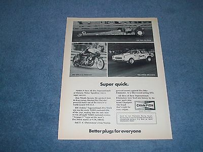 1973 Champion Spark Plugs Vintage Ad with Bill Jenkins Drag Racing