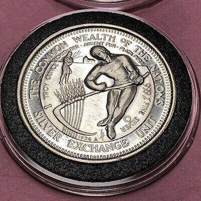 1974 Common Wealth Of The Nations World Exchange 1 Troy Oz .999 Fine Silver Coin