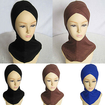 Women Muslim Scarf Full Cover Inner Hijab Cap Islamic Hat Underscarf Fast Pin
