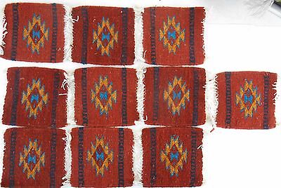 Zapotec wool hand woven 5 x 5 inch Rug & Coaster Heard Museum $172.00 set of 10)