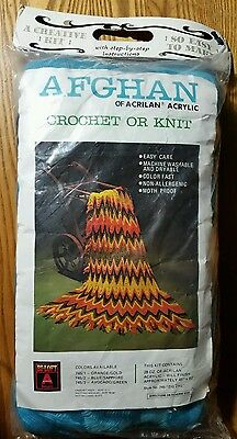 Monsanto 745/2 Crochet Or Knit Blue/saphire Zigzag Ripple Afgan Acrylic Yarn Kit