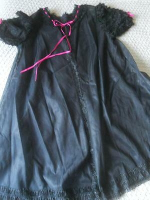"""Vintage 1960's Frothy Lace Black Sheer Nylon Pin Up Baby Doll Negligee 12 34"""""""