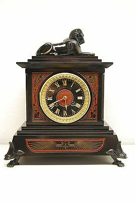 Antique Egyptian Revival Empire Sphinx Pharaon Marble Frencn Bronze Mantel Clock