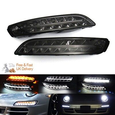 Porsche 997 911 04-08 Black Smoked LED Sidelight Fog Indicator Daytime Light DRL
