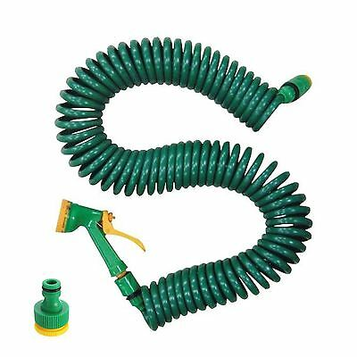 15M 50FT Retractable Coil Garden Hose Pipe Reel With Water Spray Gun Nozzle