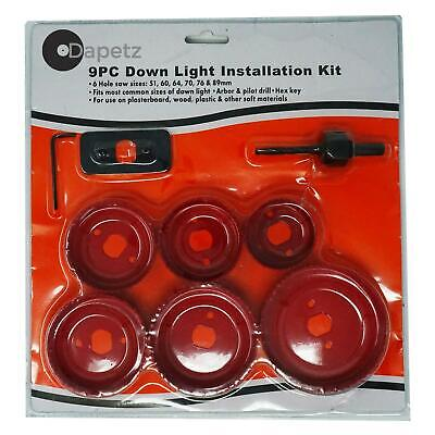 9pc Down Lights Hole Cutter Saw Holesaw Kit Set 50mm 60mm 65mm 70mm 75mm 86mm