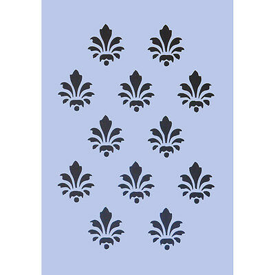 Fleur De Lys Stencil A4 Repeat Pattern Crafts Signs Spray Paint Wall Plaque 016