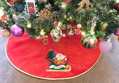 Christmas Tree Skirt Red Velvet With Gold Trim 1 Metre - Santa With Tree