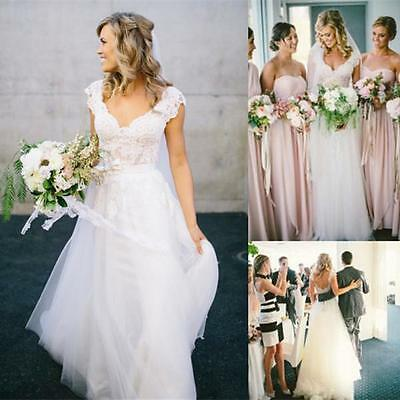 New White/Ivory Lace Wedding dress Bridal Gown Custom Size 6-8-10-12-14-16-18++