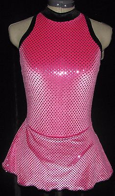 HOT PINK BLACK Ice Figure Skating Competition Dress GIRLS LARGE 12 / 14
