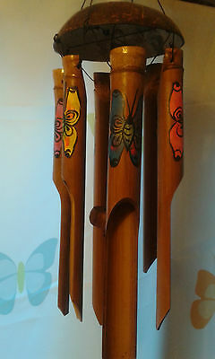 Large Bamboo Wood Hand Carved Coconut Painted Butterfly Wind Chime 72 Cm Long