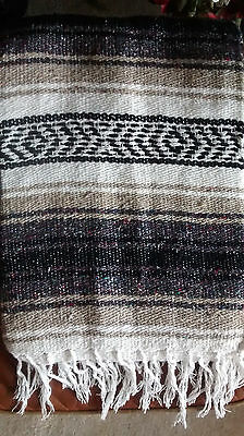 Mexican falsa blanket Brown& white hand woven extra large yoga mat