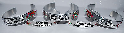 ( Your Town Or City ) Firefighter with Flames |:| Handmade & Polished Bracelet