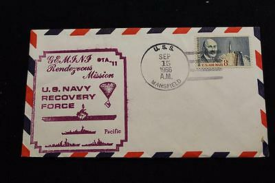 Naval Space Cover 1966 Gemini Gta-11 Recovery Ship Uss Mansfield (Dd-728) (2494)