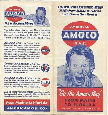 1939 AMOCO American Oil Co Road Map Booklet MAINE to FLORIDA Norman Rockwell Art
