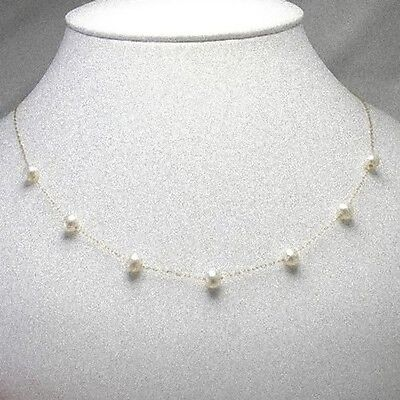 14k  white gold  GF ~ Pearl Chain Necklace 16 - 18'