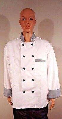 Gold Lion Executive Chef's Shirt Coat White Black Checked Long Sleeve Size XL