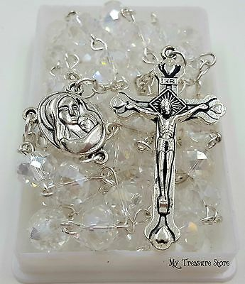 Crystals Rosary Beads Necklace Blessed Jerusalem Soil & Catholic Crucifix Cross