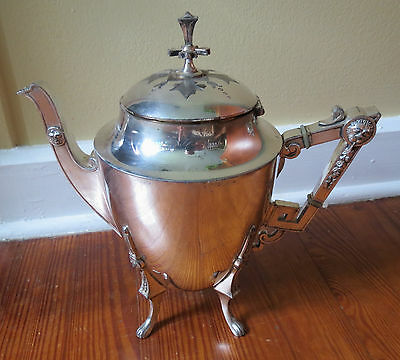 VICTORIAN ROGERS SMITH & CO SILVER PLATE TEAPOT with LION HEADS
