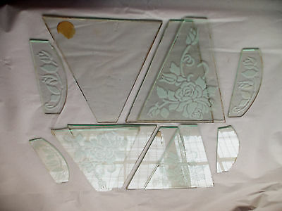 CUT GLASS PANES - SALVAGE from HANGING LIGHT - LOT of 11 PANES - PAINTED DESIGNS