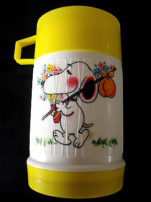 Vintage Snoopy Themed  Plastic Thermos Lunch Kids Lunchbox Colorful 8oz 250ml