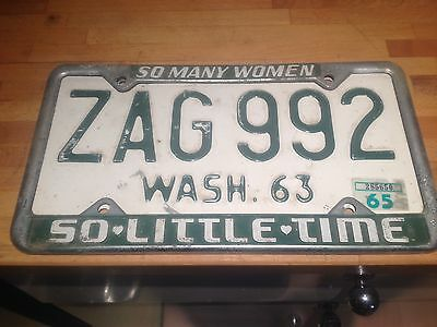 Usa Number Plate *zag 992* Wash 63 & Rare Surround So Many Women So Little Time