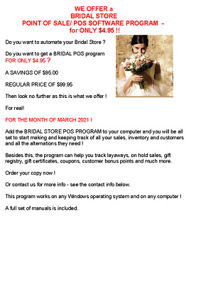 Complete Bridal Store Point Of Sale/ Pos Software Program / Only 4.95