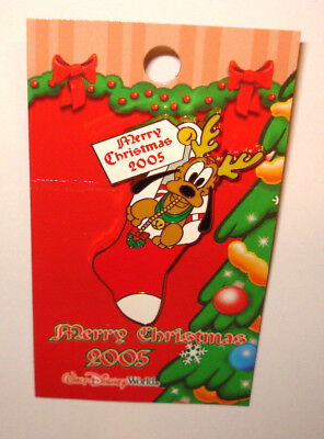 Disney Pin Trading Merry Christmas 2005 Holiday Pin Pluto in Stocking WDW NOC LE