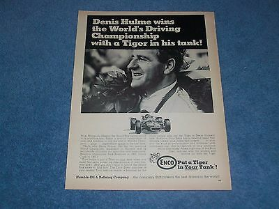 1968 Enco Humble Racing Fuel Vintage Ad with Grand Prix Champion Denis Hulme