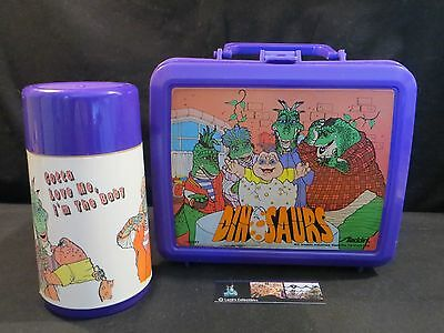 Dinosaurs vintage TV show lunch box & thermos - purple