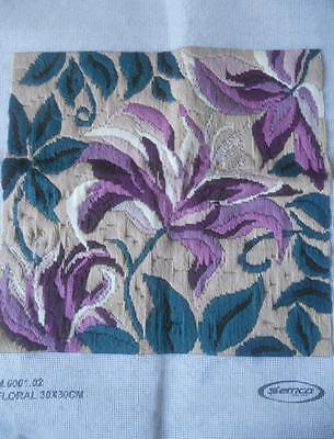 Vintage Completed Semco Tapestry Purple Flowers Suit Cushion Front Craft Frame