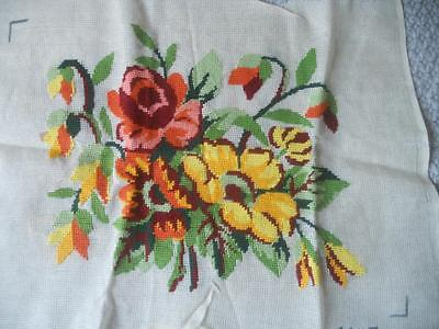 Stunning Vintage Tapestry Canvas Orange & Yellow Flowers Only Background Needed