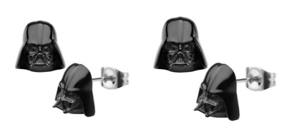 2 Pairs LFL Star Wars Darth Vader Stud Earrings Stainless Black Lucas Film New