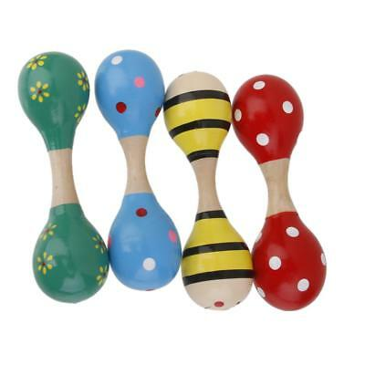 1pc Bright Color Wooden Maraca Wood Rattle Musical Party Baby Kid Shaker Toy