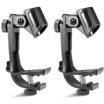2PC Adjustable Shockproof Drum Stand Microphone Clamp Holder Mic Mount Clip