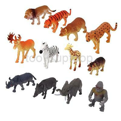 12 Assorted Plastic Zoo Figure Jungle Wild Animal Kids Toy Party Bag Favors