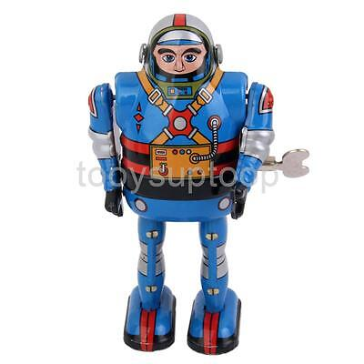 Wind Up Walking Robot Astronaut Mechanical Clockwork Tin Toy Collectible