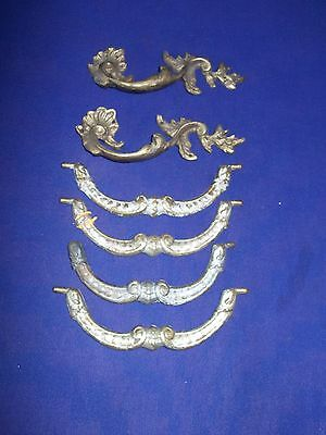 6 piece lot antique / vintage bronze furniture pulls