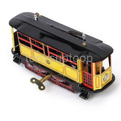 Vintage Wind Up Tram Cable Car Clockwork Streetcar Tin Toy Retro Collectible