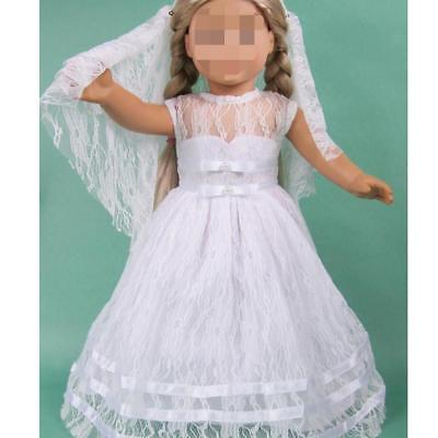 "Wedding Bridal Dress Gown w Veil Clothes for 18"" American Girl Journey Dolls"