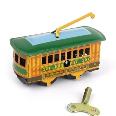 Vintage Wind Up Tram Trolley Streetcar Mechanical Tin Toy Collectible Gift