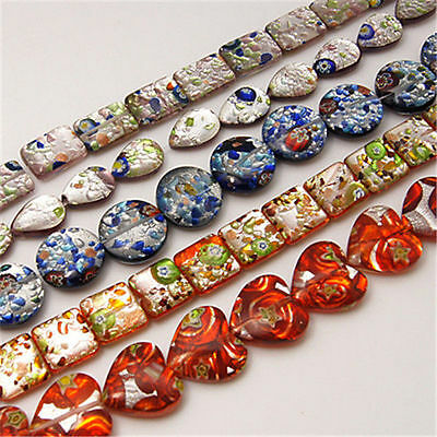 20strands Handmade Silver Foil Millefiori Glass Beads Strand Lampwork Mixed Lots