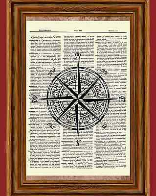 Vintage Compass Dictionary Art Print Picture Ocean Poster Nautical