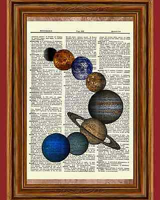 Solar System Dictionary Art Print Picture Poster Earth Jupiter Mars Saturn Space