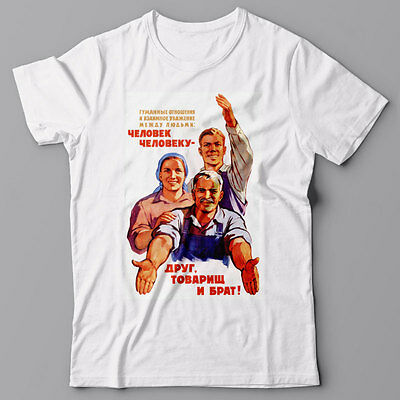 Funny T-shirt PEOPLE ARE FRIENDS Soviet USSR propaganda poster WWII Russia
