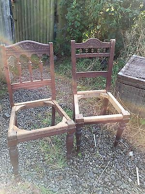 Preloved Pair Of Un Matched Solid Wood Edwardian Chairs - Needing Seat Pads