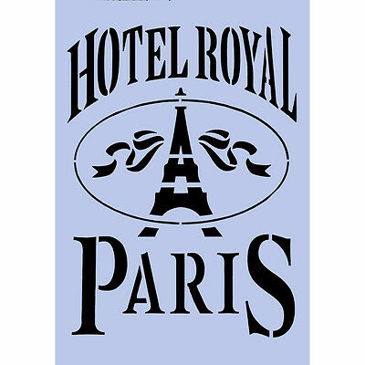 French Paris Stencil HOTEL ROYAL A4 Re-Usable Shabby Chic Airbrush Wall Craft 19