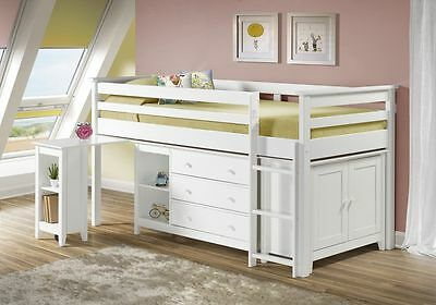 New Birlea Cotswold Cabin Bed Sleep Station Midi Sleeper 3`0 Single White