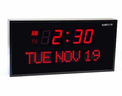 Ivation Big Oversized Digital Red LED Calendar Clock with Day and Date - Shel...