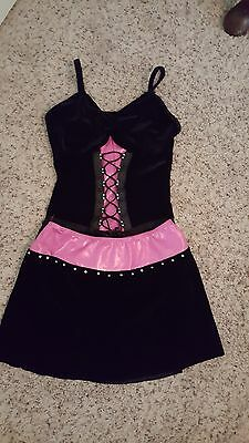 Large child adjustable leotard and skirt jazz dance costume in black and pink